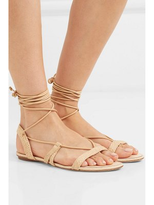 Cult Gaia sienna woven raffia and leather sandals