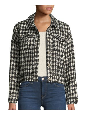 cupcakes and cashmere Andre Tweed Button-Front Cropped Jacket
