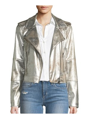 cupcakes and cashmere Brooklee Foiled Faux-Suede Moto Jacket