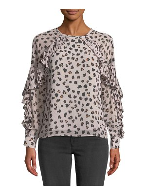 cupcakes and cashmere Deen Leopard-Print Top with Pleated Trim