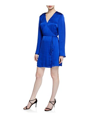 cupcakes and cashmere Kaidence Satin Long-Sleeve Wrap Dress