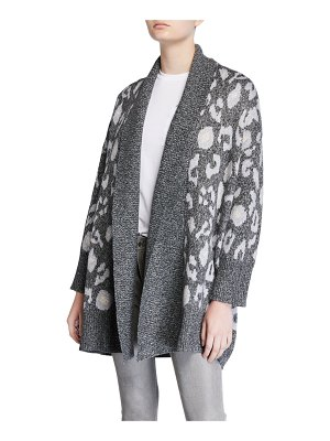 cupcakes and cashmere Molly Leopard Shawl-Collar Cardigan