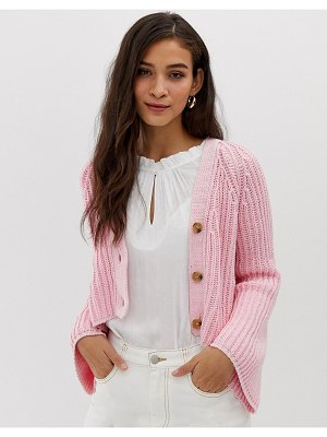 Current Air chunky knit crop cardigan-pink