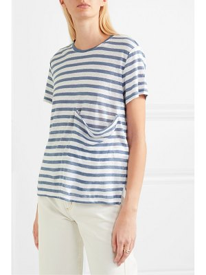 Current/Elliott the drop pocket striped linen t-shirt