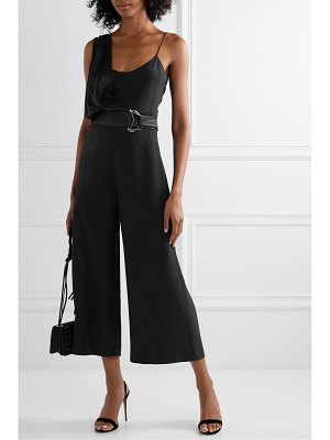 Cushnie belted crepe and charmeuse jumpsuit