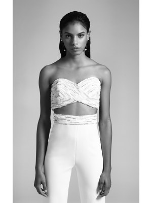 Cushnie Bridal anja strapless jumpsuit with embroidered bodice