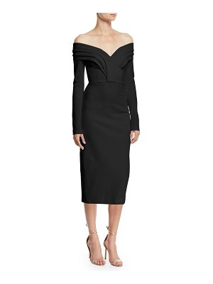 Cushnie et Ochs Off-the-Shoulder Long-Sleeve Pencil Cocktail Dress w/ Curved Panels