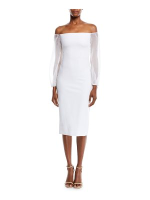 Cushnie et Ochs Off-the-Shoulder Organza-Sleeve Fitted Midi Cocktail Dress