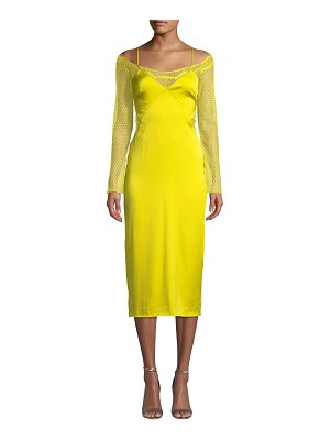 Cushnie Lace-Sleeve Satin Slip Dress