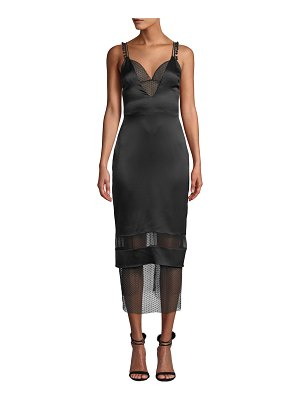 Cushnie Lace-Trim Deep V-Neck Slip Dress