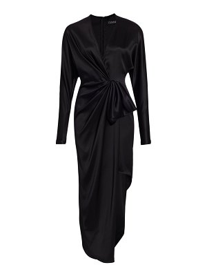 Cushnie long sleeve draped bow asymmetrical silk sheath dress