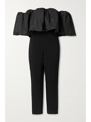 Cushnie off-the-shoulder stretch-crepe and taffeta jumpsuit