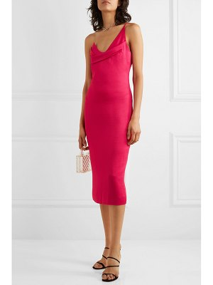 Cushnie one-shoulder draped hammered-satin dress
