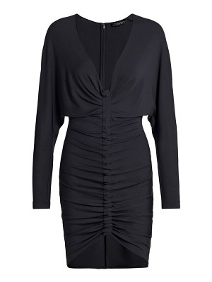 Cushnie plunging long sleeve ruched mini dress