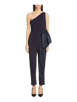 Cushnie ruffle waist one-shoulder tapered jumpsuit