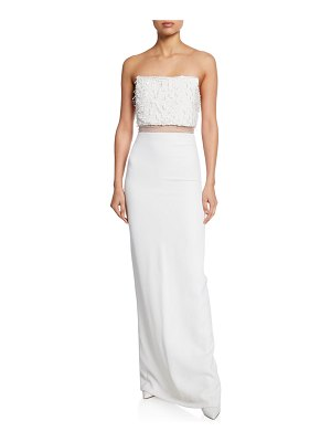 Cushnie Sequined Strapless Column Illusion Gown