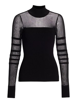 Cushnie sheer panel knit top