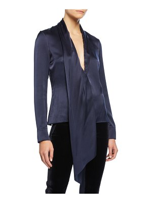 Cushnie Silk Long-Sleeve V-Neck Blouse