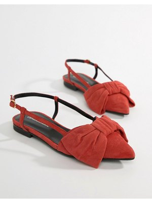 Custom Made custommade flat bow slingbacks in suede-red