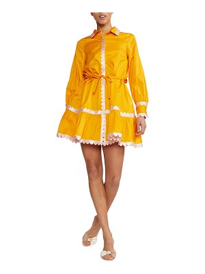 Cynthia Rowley Cecily Long-Sleeve Scallop Embroidered Shirtdress