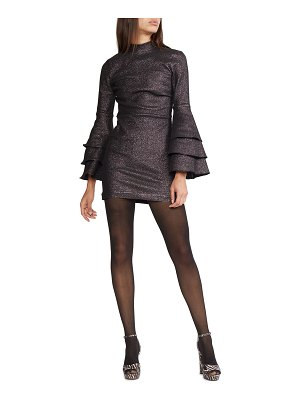 Cynthia Rowley Natasha Shimmer Bell-Sleeve Mini Dress