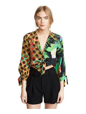Cynthia Rowley praia cropped printed tie sleeve top