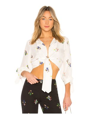 Cynthia Rowley Praia Cropped Tie Sleeve Top