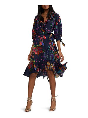 Cynthia Rowley Roseland Printed 3/4-Sleeve Ruffle Wrap Dress