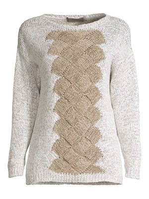 D. Exterior basketweave cabled sweater