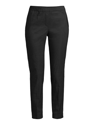 D. Exterior stretch-linen bead-trim pull-on pants