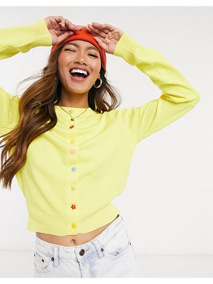 Daisy Street 90s cardigan with star buttons in rib knit-yellow