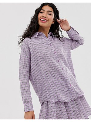 Daisy Street boyfriend shirt in gingham two-piece-purple