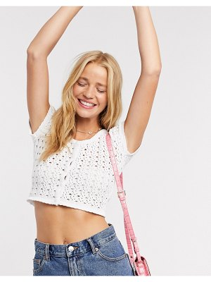 Daisy Street crop top with button front in crochet knit-white