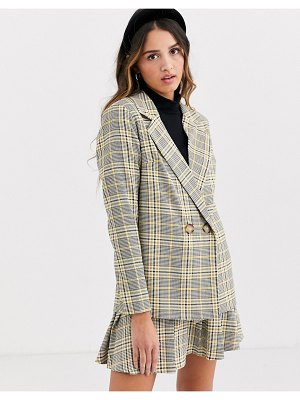 Daisy Street double breasted blazer in check two-piece-multi