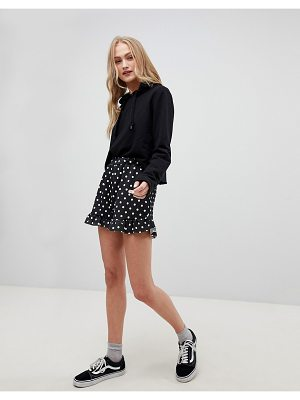 Daisy Street High Waist Shorts With Ruffle Hem In Spot