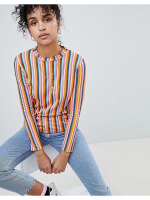 Daisy Street Long Sleeve T-Shirt In Neon Stripe