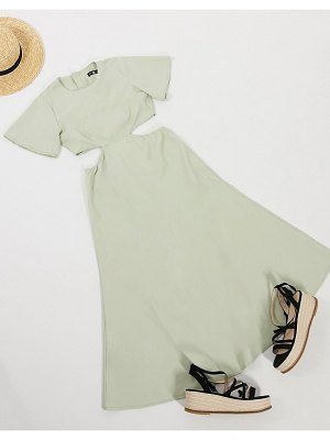 Daisy Street midi dress with cut outs-green