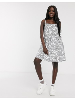 Daisy Street mini cami dress in scattered polka dot-white
