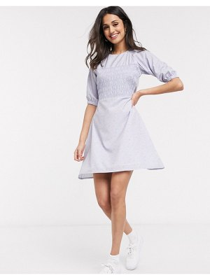 Daisy Street mini dress with volume sleeves in vintage floral-purple