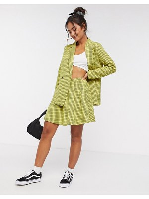 Daisy Street mini pleated skirt in vintage check-yellow