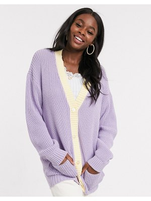 Daisy Street oversized cardigan in pastel knit-purple