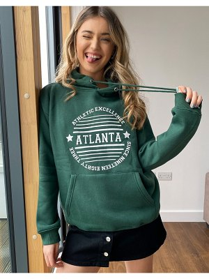 Daisy Street oversized hoodie with atlanta print-green