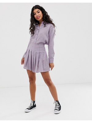 Daisy Street pleated mini skirt in gingham two-piece-purple
