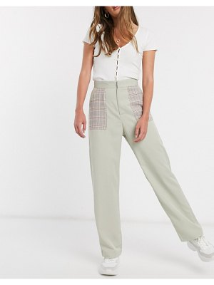 Daisy Street relaxed pants with contrast check pockets-green