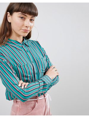 Daisy Street Relaxed Shirt In Contrast Stripe