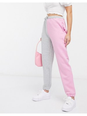 Daisy Street relaxed sweatpants in color block two-piece-gray