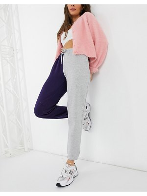Daisy Street relaxed sweatpants in color block two-piece-grey