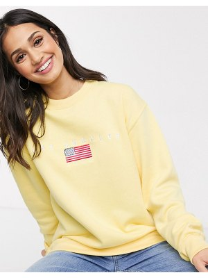 Daisy Street relaxed sweatshirt with los angeles embroidery-yellow