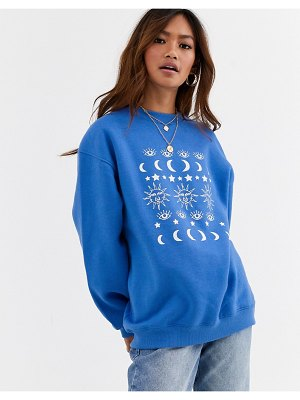 Daisy Street relaxed sweatshirt with moon print-blue