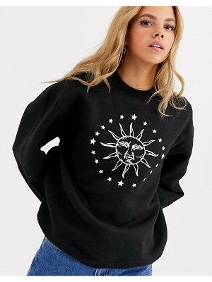 Daisy Street relaxed sweatshirt with solstice print-black